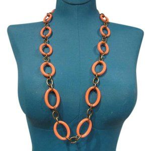 J.Crew Orange Brass Link Necklace